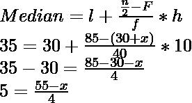 Median = l + \frac{\frac{n}{2}-F}{f} * h \\ 35 = 30 + \frac{85-(30+x)}{40} * 10 \\ 35 - 30 =  \frac{85-30-x}{4} \\ 5 = \frac{55-x}{4}