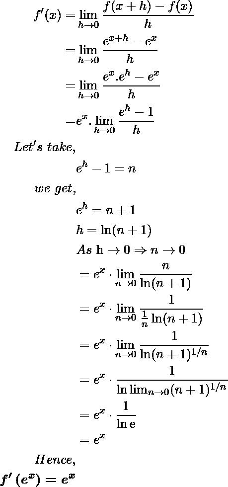 \begin{aligned} f^{\prime}(x)=& \lim _{h \rightarrow 0} \frac{f(x+h)-f(x)}{h} \\ =&\lim _{h \rightarrow 0} \frac{e^{x+h}-e^x}{h}\\ \qquad =&\lim _{h \rightarrow 0} \frac{e^{x}.e^h-e^x}{h} \\ \ \ =&e^x .\lim _{h \rightarrow 0} \frac{e^h-1}{h} \\ Let's \ take,\\ \qquad &e^{h}-1=n \\ we \ get,\\ \qquad &e^{h}=n+1 \\ \qquad &h=\ln (n+1) \\ &As\ \mathrm{h} \rightarrow 0 \Rightarrow n \rightarrow 0 \\ \qquad &=e^{x} \cdot \lim _{n \rightarrow 0} \frac{n}{\ln (n+1)} \\ \qquad &=e^{x} \cdot \lim _{n \rightarrow 0} \frac{1}{\frac{1}{n} \ln (n+1)} \\ \qquad &=e^{x} \cdot \lim _{n \rightarrow 0} \frac{1}{\ln (n+1)^{1 / n}} \\ \qquad &=e^{x} \cdot \frac{1}{\ln \lim _{n \rightarrow 0}(n+1)^{1 / n}} \\ \qquad\ &=e^{x} \cdot \frac{1}{\ln \mathrm{e}} \\ \qquad\ &=e^{x} \\ Hence, \\ \boldsymbol{{f}^{\prime}\left(e^{x}\right)=e^{x}} \end{aligned}