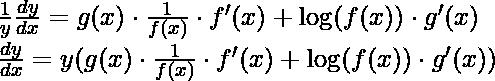 \frac{1}{y} \frac{d y}{d x}=g(x) \cdot \frac{1}{f(x)} \cdot f'(x)+\log (f(x)) \cdot g'(x) \\ \frac{d y}{d x}=y ({g(x) \cdot \frac{1}{f(x)} \cdot f'(x)+\log (f(x)) \cdot g'(x))}