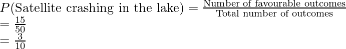 P(\text{Satellite crashing in the lake}) = \frac{\text{Number of favourable outcomes}}{\text{Total number of outcomes}} \\ = \frac{15}{50} \\ = \frac{3}{10}