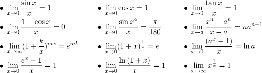 \begin{align*} &\bullet\: \lim_{x\to 0} \frac{\sin x}{x} = 1 \hspace{0.5cm}& &\bullet\: \lim_{x\to 0} \cos x = 1 \hspace{0.5cm}& &\bullet\: \lim_{x\to 0} \frac{\tan x}{x} = 1& \\ &\bullet\: \lim_{x\to 0} \frac{1-\cos x}{x} = 0 \hspace{0.5cm}& &\bullet\: \lim_{x\to 0} \frac{\sin x^\circ}{x} = \frac{\pi}{180} \hspace{0.5cm}& &\bullet\: \lim_{x\to a} \frac{x^n - a^n}{x-a} = na^{n-1}& \\ &\bullet\: \lim_{x\to \infty} (1+\frac{k}{x})^{mx} = e^{mk} \hspace{0.5cm}& &\bullet\: \lim_{x\to 0} (1+x)^\frac{1}{x} = e \hspace{0.5cm}& &\bullet\: \lim_{x\to 0} \frac{(a^x-1)}{x} = \ln {a} \hspace{0.5cm}& \\ &\bullet\: \lim_{x\to 0} \frac{e^x-1}{x} = 1 \hspace{0.5cm}& &\bullet\: \lim_{x\to 0} \frac{\ln {(1+x)}}{x} = 1 \hspace{0.5cm}& &\bullet\: \lim_{x\to \infty} x^\frac{1}{x} = 1 \hspace{0.5cm}& \\ \end{align}