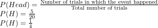 P(Head) = \frac{\text{Number of trials in which the event happened}}{\text{Total number of trials}} \\ P(H)= \frac{5}{20} \\ P(H)= \frac{1}{4}