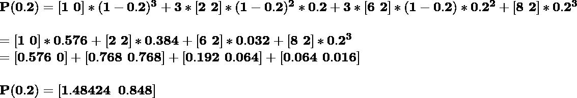 \hspace{0cm}\mathbf{P(0.2)=[1\,\,0]*(1-0.2)^3+3*[2\,\,2]*(1-0.2)^2*0.2+3*[6\,\,2]*(1-0.2)*0.2^2+[8\,\,2]*0.2^3}\\ \\ \hspace{1.16cm}\mathbf{=[1\,\,0]*0.576+[2\,\,2]*0.384+[6\,\,2]*0.032+[8\,\,2]*0.2^3}\\ \hspace{1.16cm}\mathbf{=[0.576\,\,0]+[0.768\,\,0.768]+[0.192\,\,0.064]+[0.064\,\,0.016]}\\ \\ \hspace{0cm}\mathbf{P(0.2)=[1.48424\,\,\,0.848]}