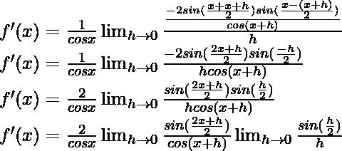 f'(x) = \frac{1}{cos x}\lim_{h \to 0} \frac{\frac{-2 sin (\frac{x+x+h}{2}) sin (\frac{x-(x+h)}{2})}{cos (x+h)}}{h}\\ f'(x) = \frac{1}{cos x}\lim_{h \to 0} \frac{-2 sin (\frac{2x+h}{2}) sin (\frac{-h}{2})}{hcos (x+h)}\\ f'(x) = \frac{2}{cos x}\lim_{h \to 0} \frac{sin (\frac{2x+h}{2}) sin (\frac{h}{2})}{hcos (x+h)}\\ f'(x) = \frac{2}{cos x}\lim_{h \to 0} \frac{sin (\frac{2x+h}{2})}{cos (x+h)} \lim_{h \to 0} \frac{sin (\frac{h}{2})}{h}