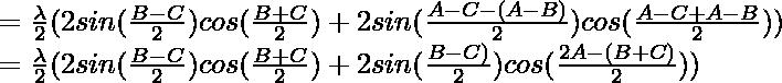 = \frac{\lambda}{2} (2 sin (\frac{B-C}{2}) cos(\frac{B+C}{2}) + 2 sin (\frac{A-C-(A-B)}{2}) cos(\frac{A-C+A-B}{2}))\\ = \frac{\lambda}{2} (2 sin (\frac{B-C}{2}) cos(\frac{B+C}{2}) + 2 sin (\frac{B-C)}{2}) cos(\frac{2A-(B+C)}{2}))