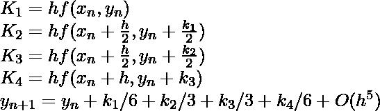 K_1 = hf(x_n, y_n)\\ K_2 = hf(x_n+\frac{h}{2}, y_n+\frac{k_1}{2})\\ K_3 = hf(x_n+\frac{h}{2}, y_n+\frac{k_2}{2})\\ K_4 = hf(x_n+h, y_n+k_3)\\ y_{n+1} = y_n + k_1/6 + k_2/3 + k_3/3 + k_4/6 + O(h^{5})