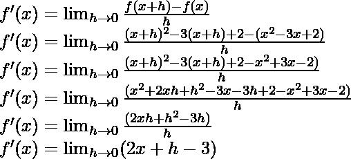 f'(x) = \lim_{h \to 0} \frac{f(x+h)-f(x)}{h}\\ f'(x) = \lim_{h \to 0} \frac{(x+h)^2 - 3(x+h) + 2-(x^2 - 3x + 2)}{h}\\ f'(x) = \lim_{h \to 0} \frac{(x+h)^2 - 3(x+h) + 2-x^2 + 3x - 2)}{h}\\ f'(x) = \lim_{h \to 0} \frac{(x^2+2xh+h^2 - 3x - 3h + 2-x^2 + 3x - 2)}{h}\\ f'(x) = \lim_{h \to 0} \frac{(2xh+h^2 - 3h)}{h}\\ f'(x) = \lim_{h \to 0} (2x+h - 3)