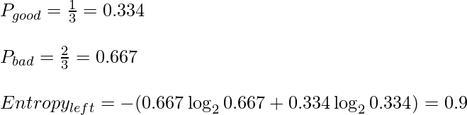 P_{good} = \frac {1}{3}= 0.334 \newline \newline P_{bad} = \frac {2}{3}= 0.667 \newline \newline Entropy_{left} = -(0.667 \log_2{0.667} + 0.334 \log_2{0.334}) = 0.9