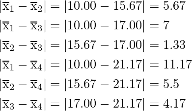 \begin{aligned} &\left|\overline{\mathrm{x}}_{1}-\overline{\mathrm{x}}_{2}\right|=|10.00-15.67|=5.67 \\ &\left|\overline{\mathrm{x}}_{1}-\overline{\mathrm{x}}_{3}\right|=|10.00-17.00|=7 \\ &\left|\overline{\mathrm{x}}_{2}-\overline{\mathrm{x}}_{3}\right|=|15.67-17.00|=1.33 \\ &\left|\overline{\mathrm{x}}_{1}-\overline{\mathrm{x}}_{4}\right|=|10.00-21.17|=11.17 \\ &\left|\overline{\mathrm{x}}_{2}-\overline{\mathrm{x}}_{4}\right|=|15.67-21.17|=5.5 \\ &\left|\overline{\mathrm{x}}_{3}-\overline{\mathrm{x}}_{4}\right|=|17.00-21.17|=4.17 \end{aligned}