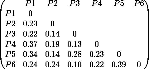 \begin{pmatrix} & P1 & P2 & P3 & P4 & P5 & P6 \\ P1 & 0 \\ P2 & 0.23 & 0 \\ P3 & 0.22 & 0.14 & 0 \\ P4 & 0.37 & 0.19 & 0.13 & 0 \\ P5 & 0.34 & 0.14 & 0.28 & 0.23 & 0 \\ P6 & 0.24 & 0.24 & 0.10 & 0.22 & 0.39 & 0 \\ \end{pmatrix}
