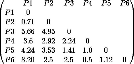 \begin{pmatrix} & P1 & P2 & P3 & P4 & P5 & P6 \\ P1 & 0 \\ P2 & 0.71 & 0 \\ P3 & 5.66 & 4.95 & 0 \\ P4 & 3.6 & 2.92 & 2.24 & 0 \\ P5 & 4.24 & 3.53 & 1.41 & 1.0 & 0 \\ P6 & 3.20 & 2.5 & 2.5 & 0.5 & 1.12 & 0 \\ \end{pmatrix}