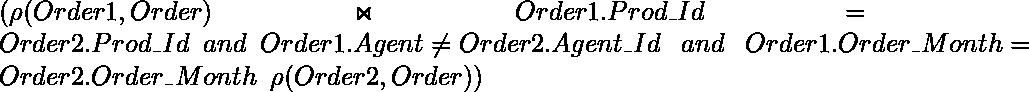 (\rho (Order1, Order)\Join Order1.Prod\_Id = Order2.Prod\_\hspace{0.02cm}Id \hspace{0.2cm}and\hspace{0.2cm}Order1.Agent\Id \neq Order2.Agent\_\hspace{0.02cm}Id \hspace{0.3cm} and \hspace{0.3cm}Order1.Order\_\hspace{0.02cm}Month=Order2.Order\_\hspace{0.02cm}Month \hspace{0.2cm}\rho (Order2, Order))