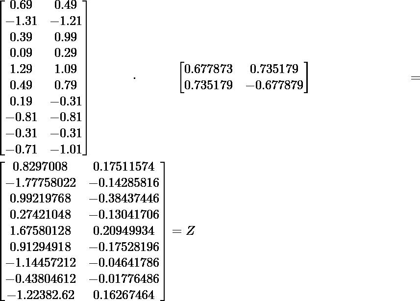 \begin{bmatrix} 0.69 & 0.49 \\ -1.31 & -1.21 \\ 0.39 & 0.99 \\ 0.09 & 0.29 \\ 1.29 & 1.09 \\ 0.49 & 0.79 \\ 0.19 & -0.31 \\ -0.81 & -0.81 \\ -0.31 & -0.31 \\ -0.71 & -1.01 \end{bmatrix} \cdot \begin{bmatrix} 0.677873 & 0.735179 \\ 0.735179 & -0.677879 \end{bmatrix} = \begin{bmatrix} 0.8297008 & 0.17511574 \\ -1.77758022 & -0.14285816 \\ 0.99219768 & -0.38437446 \\ 0.27421048 & -0.13041706 \\ 1.67580128 & 0.20949934 \\ 0.91294918 & -0.17528196 \\ -1.14457212 & -0.04641786 \\ -0.43804612 & -0.01776486 \\ -1.22382.62 & 0.16267464 \end{bmatrix} = Z