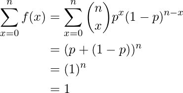 \begin{equation*} \begin{split} \sum\limits_{x=0}^{n} f(x) &= \sum\limits_{x=0}^{n} \binom{n}{x} p^x (1-p)^{n-x}\\ &=(p+(1-p))^n\\ &=(1)^n\\ &=1 \end{split} \end{equation*}