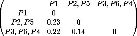\begin{pmatrix} & P1 & P2,P5 & P3,P6,P4 \\ P1 & 0 \\ P2,P5 & 0.23 & 0 \\ P3,P6,P4 & 0.22 & 0.14 & 0 \\ \end{pmatrix}