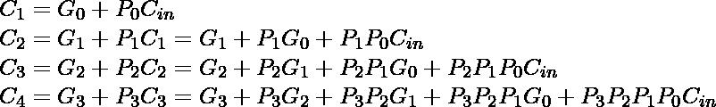 C_{1} = G_{0} + P_{0} C_{in} \newline C_{2} = G_{1} + P_{1} C_{1} = G_{1} + P_{1} G_{0} + P_{1} P_{0} C_{in} \newline C_{3} = G_{2} + P_{2} C_{2} = G_{2} + P_{2} G_{1} + P_{2} P_{1} G_{0} + P_{2} P_{1} P_{0} C_{in} \newline C_{4} = G_{3} + P_{3} C_{3} = G_{3} + P_{3} G_{2} + P_{3} P_{2} G_{1} + P_{3} P_{2} P_{1} G_{0} + P_{3} P_{2} P_{1} P_{0} C_{in} \newline