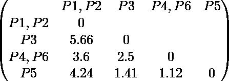 \begin{pmatrix} & P1,P2 & P3 & P4,P6 & P5 \\ P1,P2 & 0 \\   P3 & 5.66 & 0 \\ P4,P6 & 3.6 & 2.5 & 0 \\ P5 & 4.24 & 1.41 & 1.12 & 0 \\ \end{pmatrix}