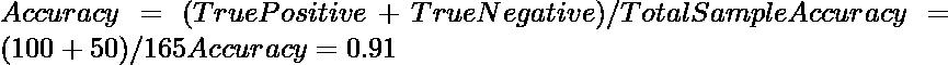 Accuracy = (TruePositive + TrueNegative)/TotalSample Accuracy = (100+50)/165 Accuracy = 0.91
