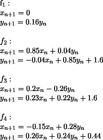 f_1 :\\     x_{n+1} = 0\\     y_{n+1} = 0.16 y_n\\ \\ f_2 :\\     x_{n+1} = 0.85 x_n + 0.04 y_n\\     y_{n+1} = -0.04 x_n + 0.85 y_n + 1.6\\ \\ f_3 :\\     x_{n+1} = 0.2 x_n - 0.26 y_n\\     y_{n+1} = 0.23 x_n + 0.22 y_n + 1.6\\ \\ f_4 :\\     x_{n+1} = -0.15 x_n + 0.28 y_n\\     y_{n+1} = 0.26 x_n + 0.24 y_n + 0.44\\
