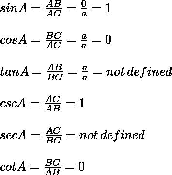 \\ sin A = \frac{AB}{AC} = \frac{0}{a} = 1 \\\quad\\ cos A = \frac{BC}{AC} = \frac{a}{a} = 0 \\\quad\\ tan A = \frac{AB}{BC} = \frac{a}{a} = not\, defined \\\quad\\ csc A = \frac{AC}{AB} = 1 \\\quad\\ sec A = \frac{AC}{BC} = not\, defined \\\quad\\ cot A = \frac{BC}{AB} = 0