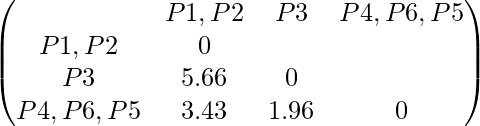 \begin{pmatrix} & P1,P2 & P3 & P4,P6,P5 \\ P1,P2 & 0 \\ P3 & 5.66 & 0 \\ P4,P6,P5 & 3.43 & 1.96 & 0 \\ \end{pmatrix}
