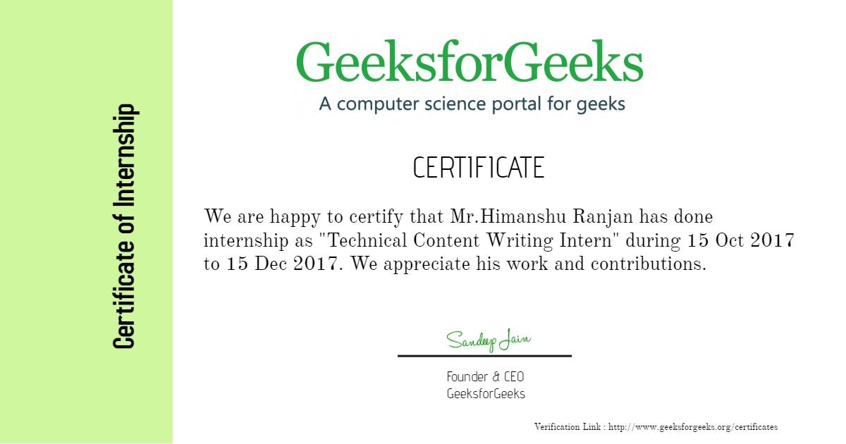 Certificates geeksforgeeks internship certificates sarthak kohli prerna saini himanshu ranjan yadclub Choice Image