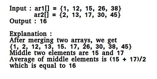 Median of two sorted arrays of same size geeksforgeeks recommended please solve it on practice first before moving on to the solution ccuart Image collections