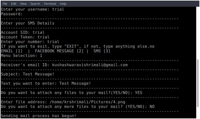 Multi-Messenger : A python project, messaging via Terminal