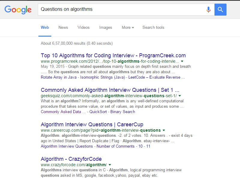 But You Know That You Can Get The Best Questions On Algorithms On  Www.geeksforgeeks.org, So Just Modify The Query As Below And You Get All  Results From ...